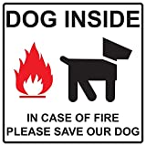 ComplianceSigns Vinyl Dog Inside In Case Of Fire Please Save Our Dog Label, 6 x 6 in. with English, White
