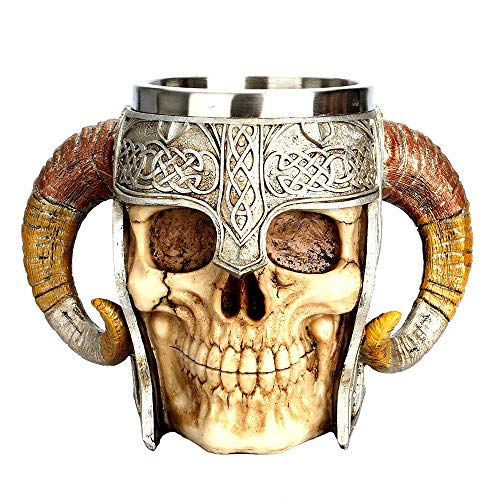 Creative 3D Skull Knight or Skull Horn Mug Stainless Steel Mug Coffee Tea Water Drinking Cup Halloween Bar Drinkware Gift