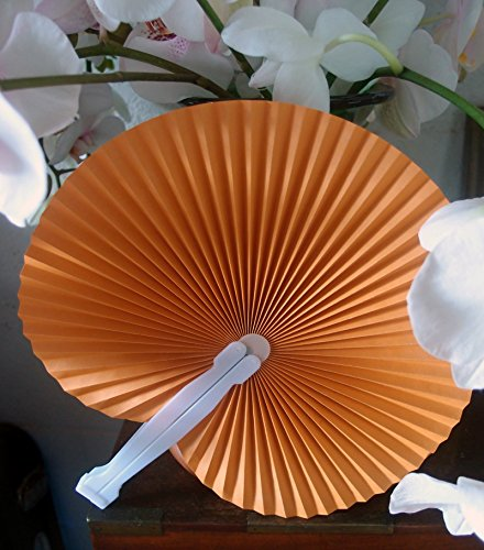 "Quasimoon 9"" Orange Chinese Folding Accordion Paper Hand Fan for Weddings (10 Pack) by PaperLanternStore"