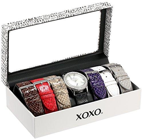 (XOXO Women's XO9042  Seven Color Snake-Embossed Interchangeable Strap Set Watch)