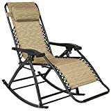 Patio Folding Rocking Chair Gravity Lounge Porch Foldable Seat Outdoor UV-resistant Tan New #261
