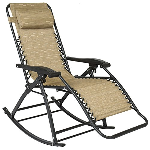 Patio Folding Rocking Chair Gravity Lounge Porch Foldable Seat Outdoor UV-resistant Tan New #261 by koonlertshop