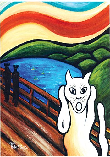 Toland Home Garden The Kitty Scream 28 x 40 Inch Decorative Classic Munch Painting Animal Cat House Flag
