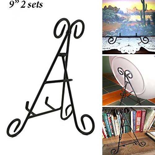 Adorox 2 PC of (9) Tall Black Iron Display Stand Holds Cook Books, Plates, Pictures & More!