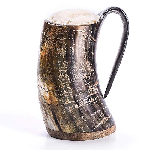 "Norse Tradesman Original Viking Drinking Horn Mug - 100% Authentic Beer Horn Tankard w/Natural Surface & Burlap Gift Sack |""The Original"", Unpolished, Large"