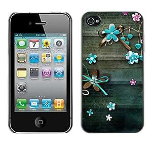 X-ray Impreso colorido protector duro espalda Funda piel de Shell para Apple iPhone 4 / iPhone 4S / 4S - Teal Lines Floral Rustic Wood