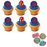 Ultimate Spider-Man Mask and Spider Cupcake Toppers and Bonus Birthday Ring - 25 pieces
