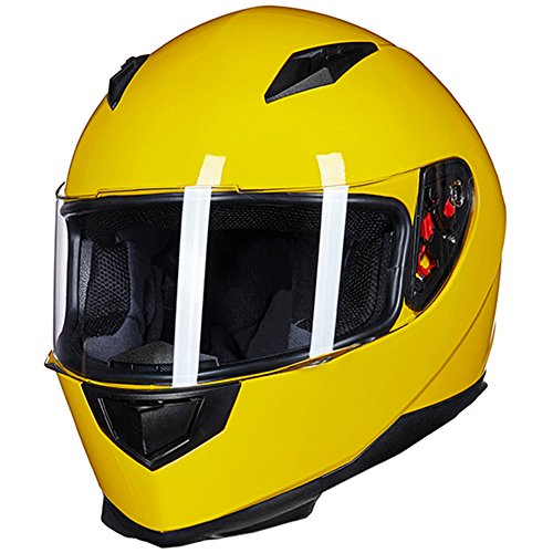 ILM Full Face Motorcycle Street Bike Helmet with Removable Winter Neck Scarf + 2 Visors DOT (L, Yellow) (Yellow Motorcycle Helmet)