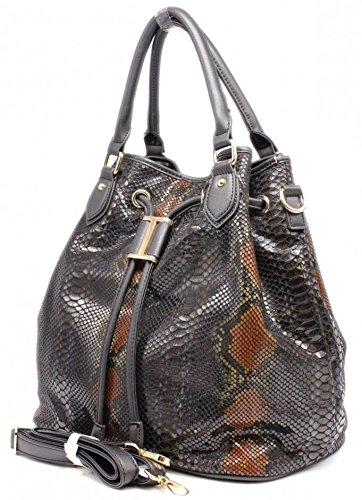 SAC SEAU SIMILI-CUIR IMPRIME SERPENT - TOM & EVA - Noir