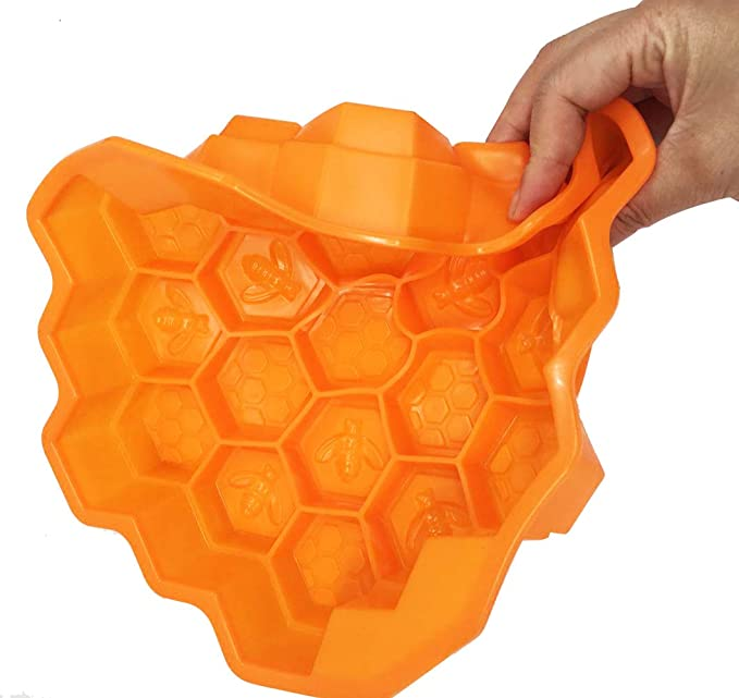 19 Cell Honey Comb Bees SOAP Moulds Beeswax Ice Jelly Chocolate Silicone Cake Pan 7.2x6.9x1.4in Honeycomb Cake Mold