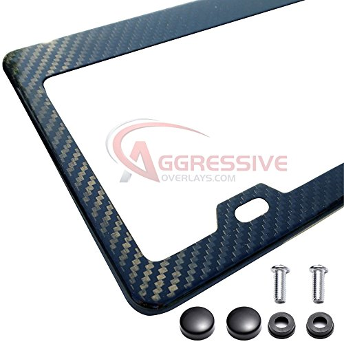 Carbon Fiber License Plate Frame (Genuine Carbon Fiber License Plate Frame with Screws and Caps Tag Registration 100% Real Premium Quality 3D Twill Weave Light Weight Gloss Finish Standard Size US Car - Aggressive Overlays - QTY 1)