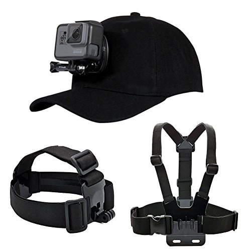 Makit Accessories Kit for GoPro Hero 7/ Hero 6/ Hero 5 with Baseball Hat/Head Strap/Chest Strap