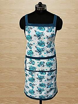 Dekor World Cotton Printed Blue Floral Free Size Kitchen Apron  Pack of 1  50 x 70 cm for Unisex