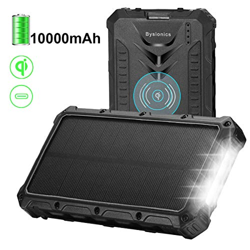 Bysionics Solar Charger, 10000mAh Qi Wireless Charger Portable Charging Case Backup Battery Pack Power Bank Dual USB and Type C Solar Phone Charger with Flashlight for Camping (Black)
