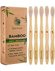 5pcs Sprmal Bamboo Toothbrushes Natural Organic Biodegradable and Vegan Bamboo Soft BPA Free Nylon Bristles For