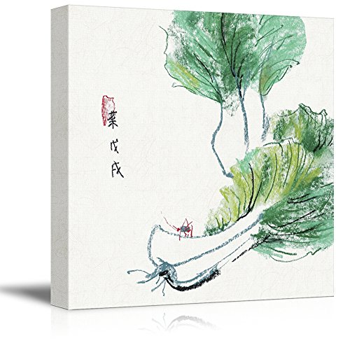 Square Watercolor Style Chinese Painting of Green Chinese Cabbages