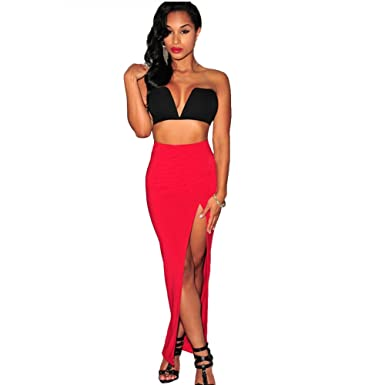 Red Casual Tight Split Maxi Skirt Sexy Long Skirts with Slit Night ...