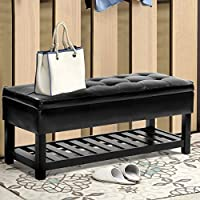 Giantex Storage Bench Shoe Rack Ottoman Organizer Entryway Furniture PU Leather (Black)