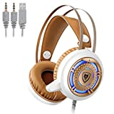 Gaming Computer Headphones with Microphone 3.5mm USB Headset Over Ear for PC Games with LED Light & Protein Earpads (White+Gold)