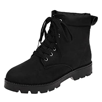 5c8ecfa4f4ba4 Image Unavailable. Image not available for. Color: Red Ta Women's Fashion  Flat Lace-up Fashion Boots ...