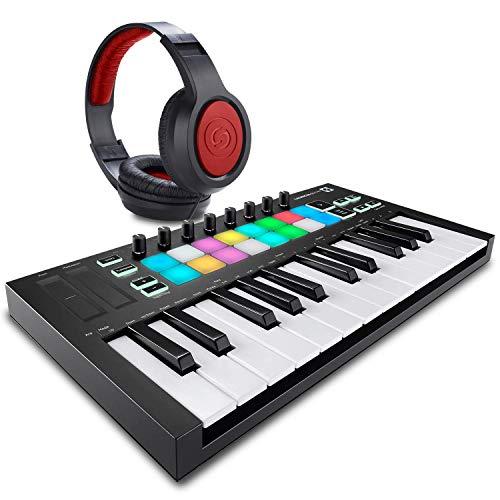 Novation Launchkey Mini MK3 25-Key USB MIDI Keyboard Controller + SR360 Over-Ear Dynamic Stereo Headphones & Fibertique Microfiber Cleaning Cloth