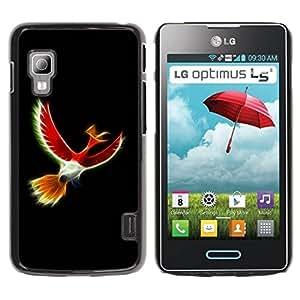 Paccase / SLIM PC / Aliminium Casa Carcasa Funda Case Cover para - Mystical Red Bird - LG Optimus L5 II Dual E455 E460