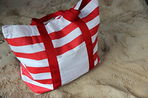 OWLMO , Borsa da spiaggia  Unisex �?Adulto rosso rosso/bianco
