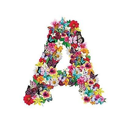 Adesivi Murali CAMERETTA NOMI bambina LETTERA - A - FIORI FARFALLE - Wall Stickers VINILE LUCIDO HD lettere (10cm) AuroraBomboniere