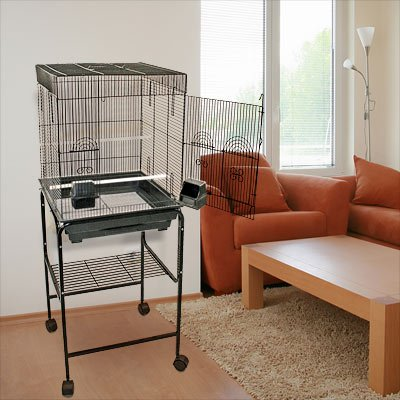 Anini Apartment Flattop Bird Cage with Stand - 2 Colors Available! BirdCages4Less