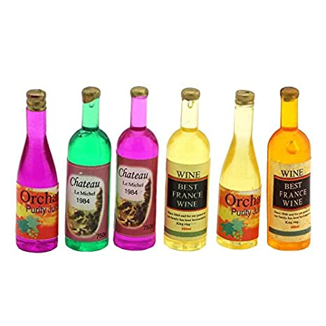 MyTinyWorld Dolls House Miniature 6 Resin Cast Mixed Style  Wine/Liquer/Spirit Bottles