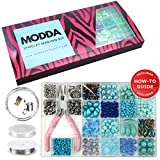 Modda Jewelry Making Kit- Diy Beading Arts and Crafts Kits for Teen Girls, Beginners, Adults - Includes Supplies, Beads, Charms, Instructions for Bracelets, Necklaces, Earrings Making - Turquoise Kit