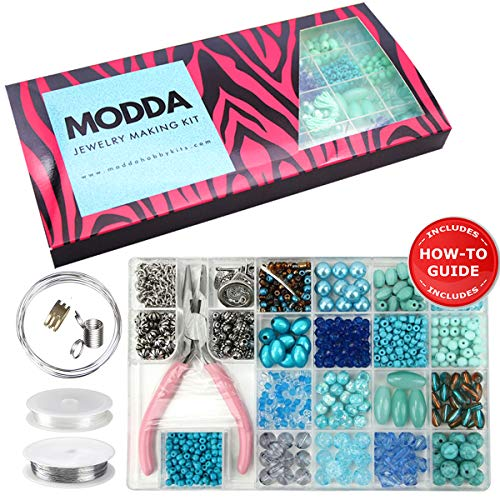 - Modda Jewelry Making Kit- Diy Beading Arts and Crafts Kits for Teen Girls, Beginners, Adults - Includes Supplies, Beads, Charms, Instructions for Bracelets, Necklaces, Earrings Making - Turquoise Kit