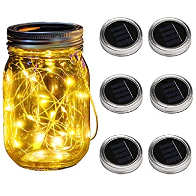 KZOBYD 6 Pack Mason Jar Lid Solar Waterproof Fairy Starry Firefly Lights for Regular Mouth Mason Jar Lantern on Patio Yard Pathway Festivals Home Decor