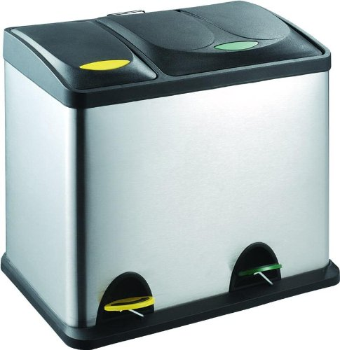Amazon De Edelstahl Mulleimer Abfalleimer 2 In 1 18 Liter 8 Liter