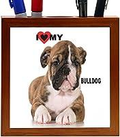 Rikki Knight I Love My Bulldog Puppy Dog Design 5-Inch Tile Wooden Tile Pen Holder (RK-PH44801)