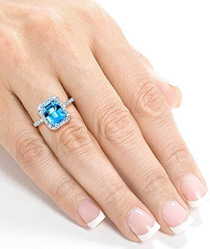 Kobelli Emerald Cut Swiss Blue Topaz and Diamond Halo Ring 3ct CTW 14k White Gold