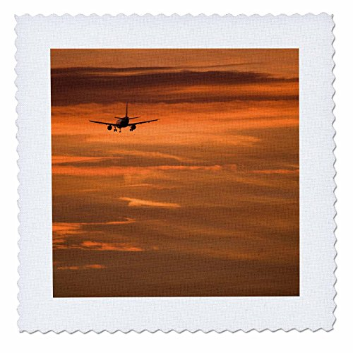 3dRose Danita Delimont - Aircraft - Plane landing. Harbor sunset. Barcelona. Spain. - 18x18 inch quilt square (qs_257875_7) by 3dRose