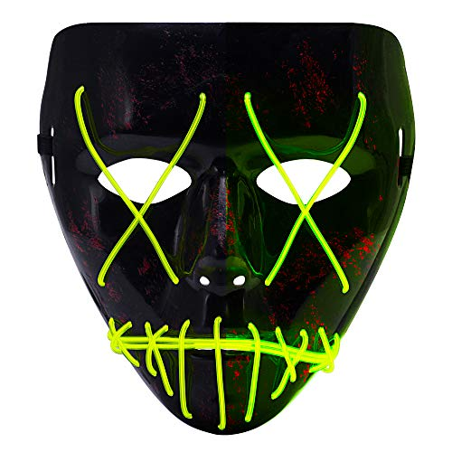 Ankuka Frightening Wire Halloween Glowing Mask, Scary Cosplay LED Light up Masks for Gifts, Costume Parties, Dance, Carnival or Club (Dark Green) -