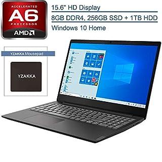"2020 Lenovo IdeaPad S145 15.6"" Laptop Computer, AMD Core A6-9225 up to 3.0GHz, 8GB DDR4 RAM, 1TB HDD + 256GB SSD, 802.11AC WiFi, Bluetooth 4.2, USB 3.1, HDMI, Black, Windows 10 in S, YZAKKA MousePad"
