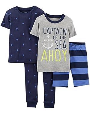 Baby Boys' 4 Piece Cotton PJ Set (Baby) Captain