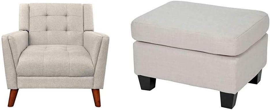 Christopher Knight Home 305538 Evelyn Mid Century Modern Fabric Arm Chair, Beige, Walnut & Rosella Fabric Ottoman, Linen