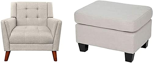 Christopher Knight Home 305538 Evelyn Mid Century Modern Fabric Arm Chair, Beige, Walnut Rosella Fabric Ottoman, Linen