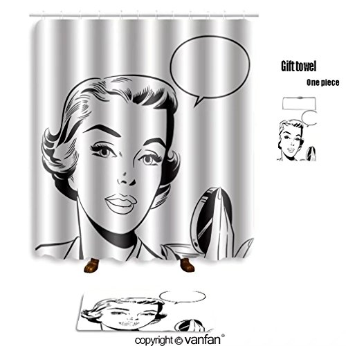 Female Pop Star Costume Ideas (vanfan bath sets with Polyester rugs and shower curtain pop art woman holding a mirror 80481208 shower curtains sets bathroom 48 x 72 inches&23.6 x 15.7 (Free 1 towel and 12 hooks))