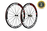 Superteam 50mm Clincher Wheelset 700c 23mm Width Cycling Racing Road Carbon Wheel Decal (Red and White Decal)