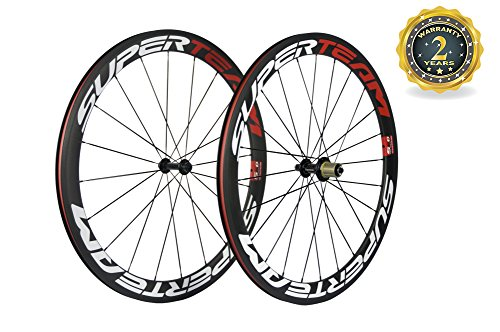 (Superteam 50mm Clincher Wheelset 700c 23mm Width Cycling Racing Road Carbon Wheel Decal (Red and White Decal))