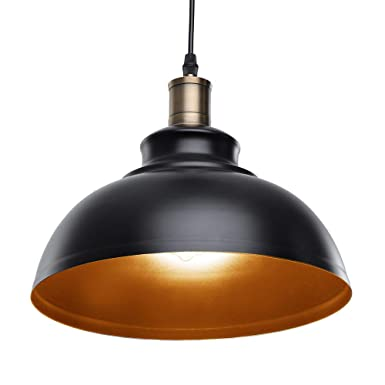 Pendant Lighting, Lika Industrial Vintage Black Hanging Ceiling Lamp with Metal Shade,Lighting Fixtures for Kitchen Island, Dining Room, Barn One Pack