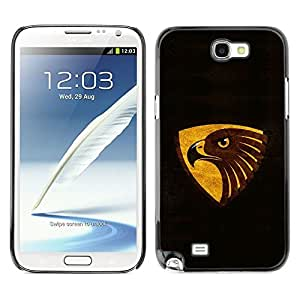 LECELL -- Funda protectora / Cubierta / Piel For Samsung Galaxy Note 2 N7100 -- Cool Black Brown Gold Eagle --