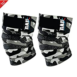RAD 1 Pair Heavy Duty Knee Wraps For Power-lifting/Bodybuilding,Gym White Camouflage