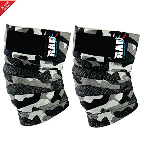 Bodybuilding Knee Wraps - RAD 1 Pair Heavy Duty Knee Wraps For Power-lifting/Bodybuilding,Gym White Camouflage