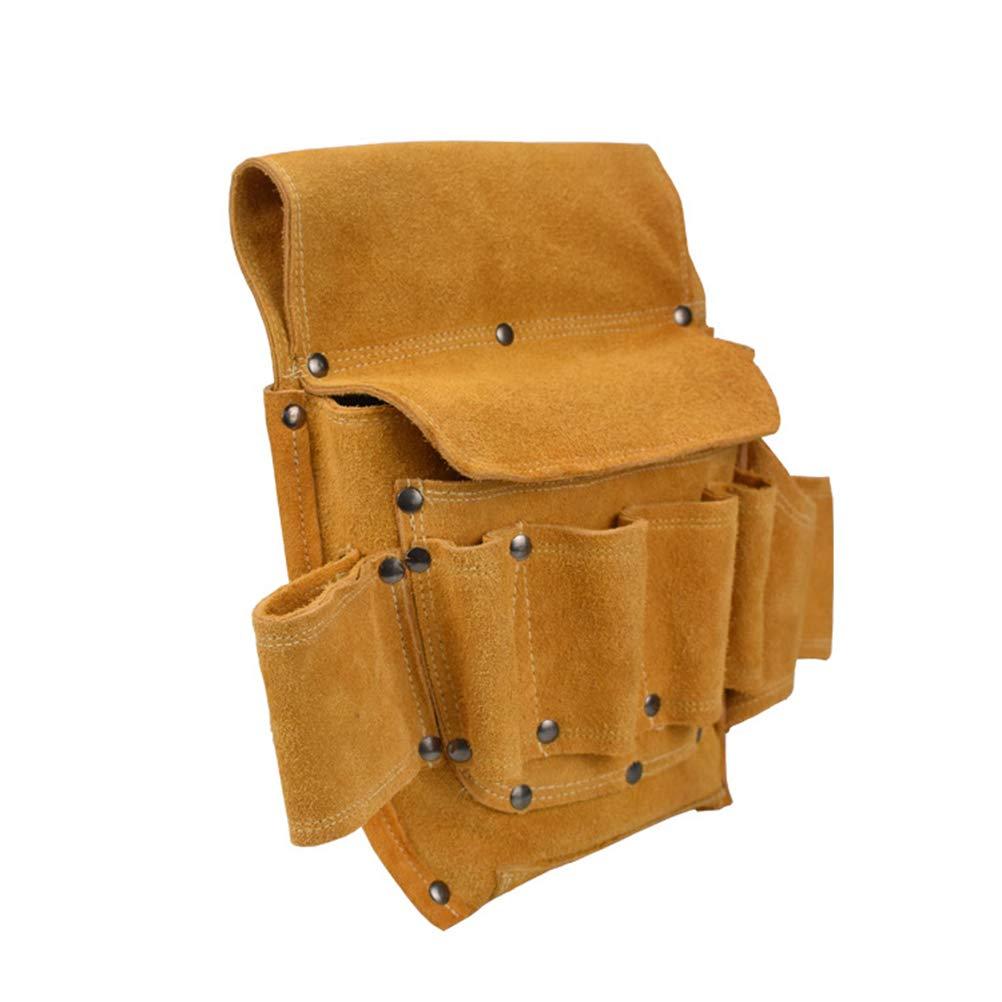 gouxia74534 Bolsa de Herramientas de Cuero Set Vintage multifunci/ón usable Llave para u/ñas Hardware Bolsa de Almacenamiento de Cuero de Bolsillo de Electricista